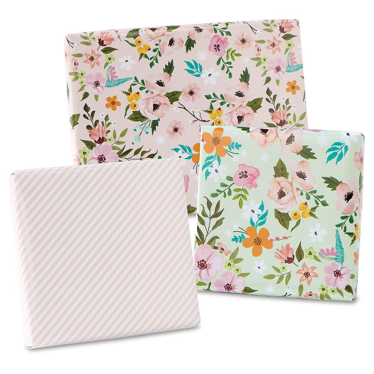 FG3 - 3 Flower Flat Gift Wrap Sheets