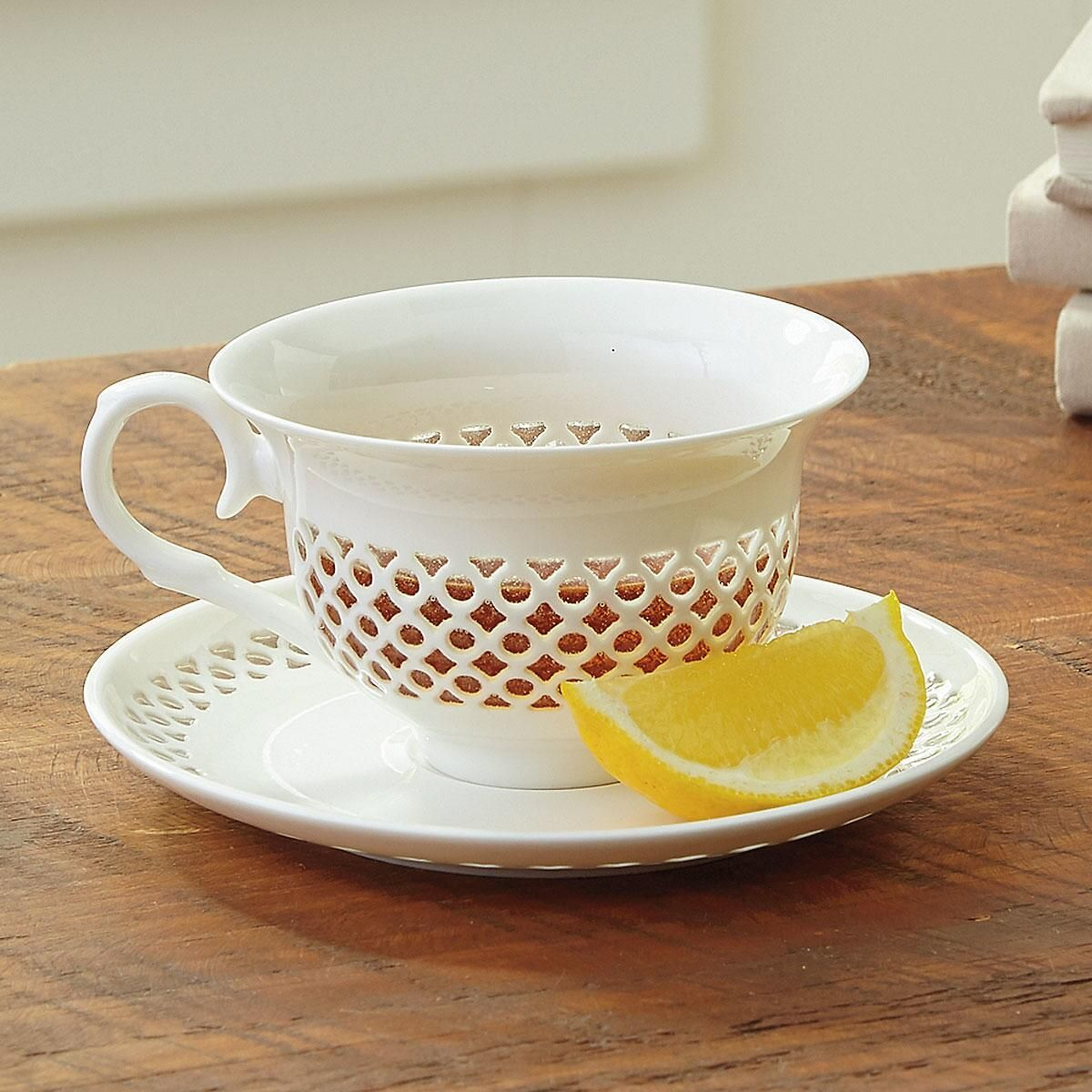 Elegant Cutout Pattern Teacup & Saucer