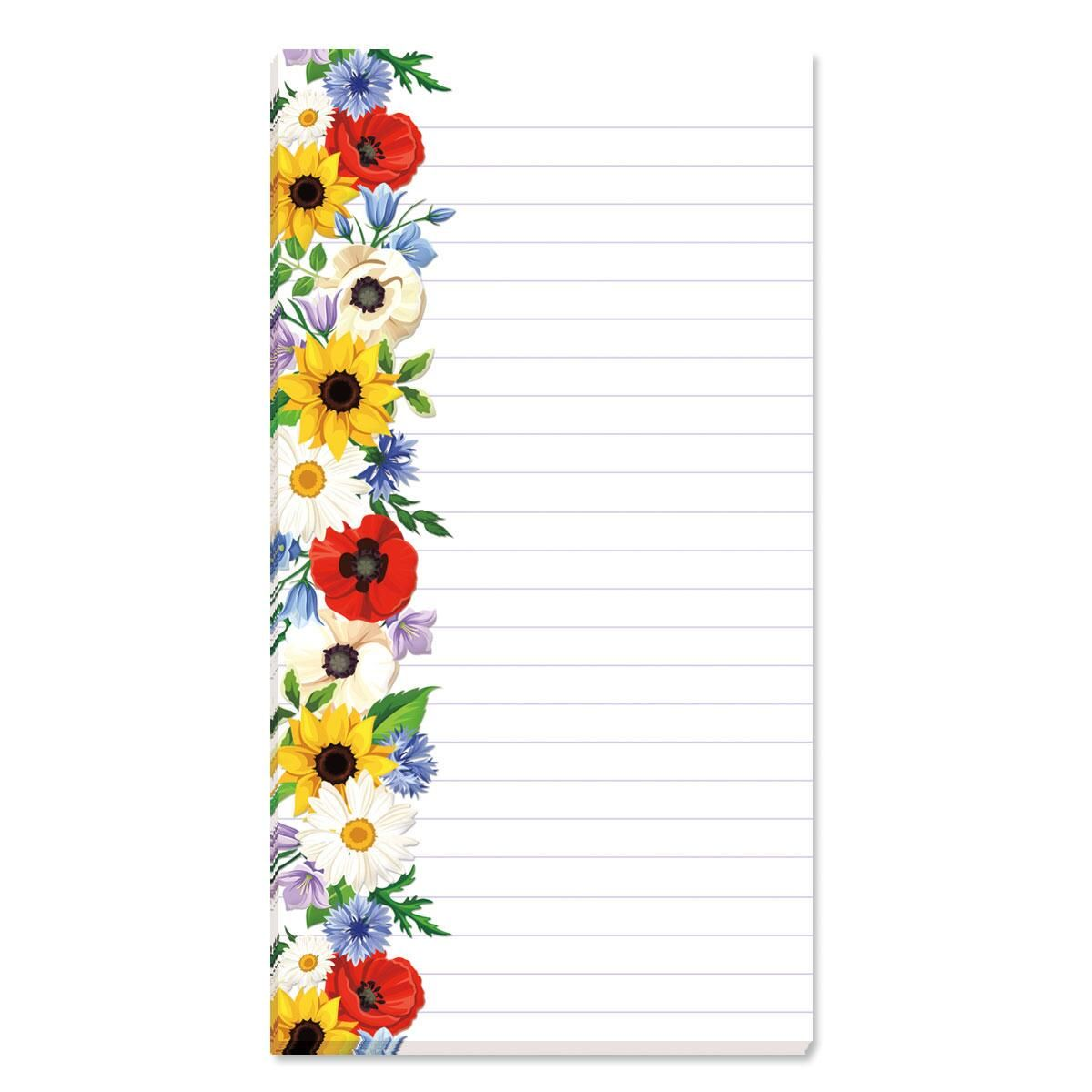 Poppies, Sunflowers & Daisies Lined Shopping List Pads