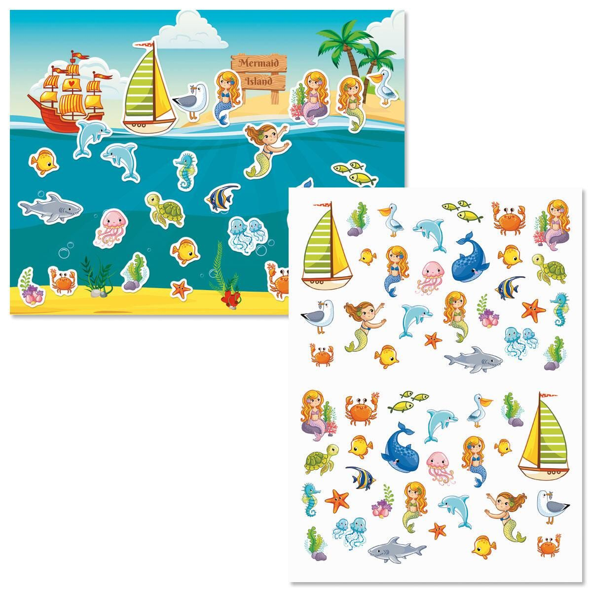 Mermaid Island Background Scenes and Stickers