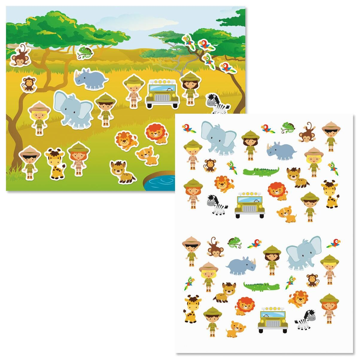 Safari Adventure Background Scenes and Stickers