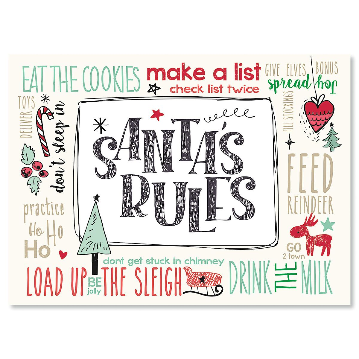 Santa's Rules Personalized Christmas Cards - Set of 18
