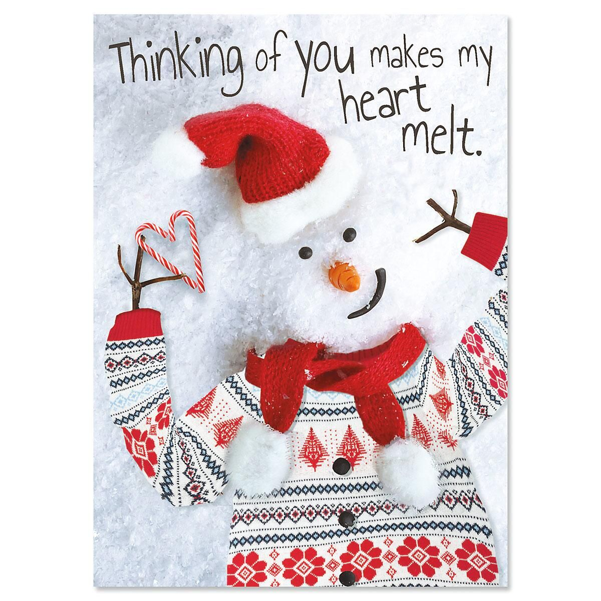 Modern Snowman Personalized Christmas Cards - Set of 18