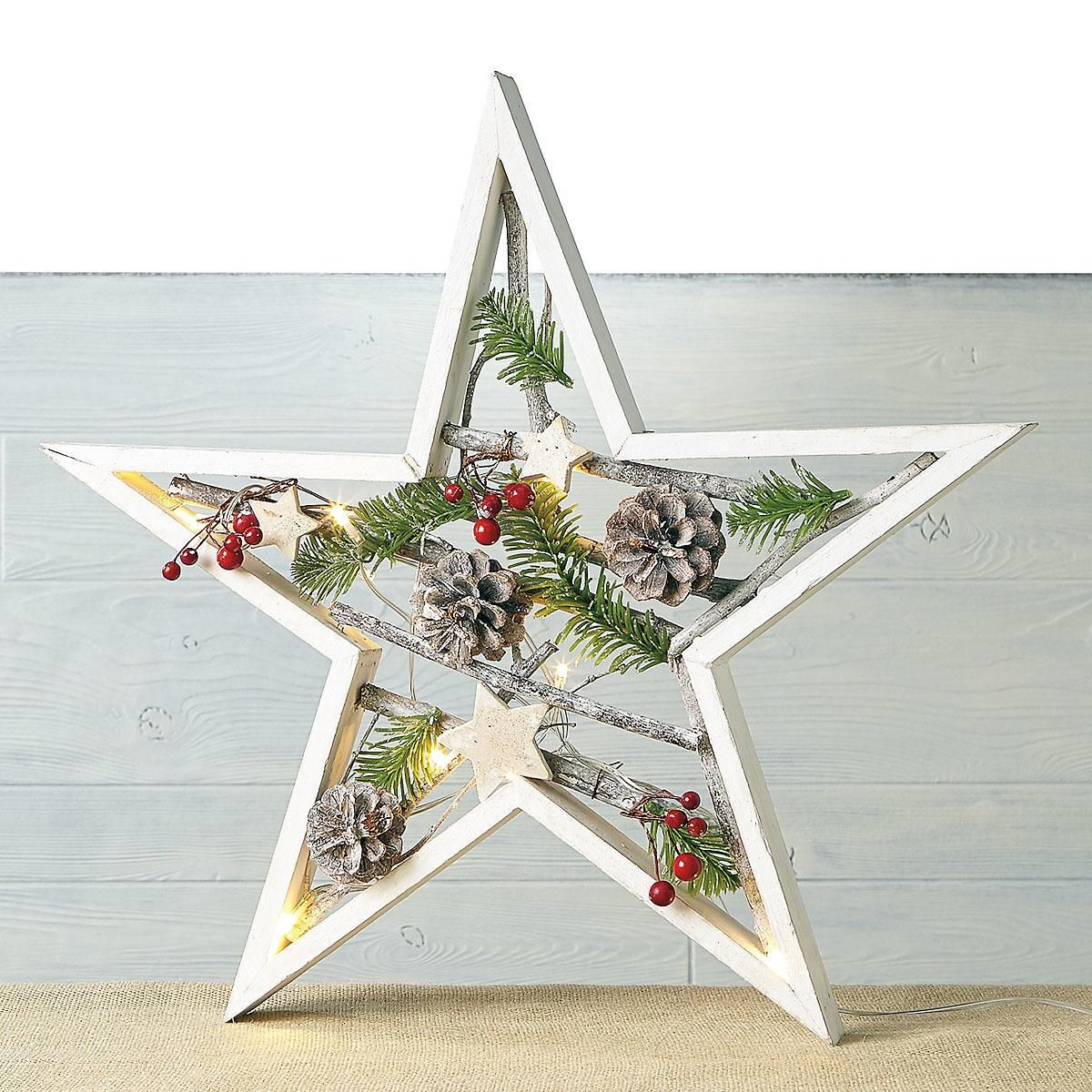 Natural Lighted Star Deco