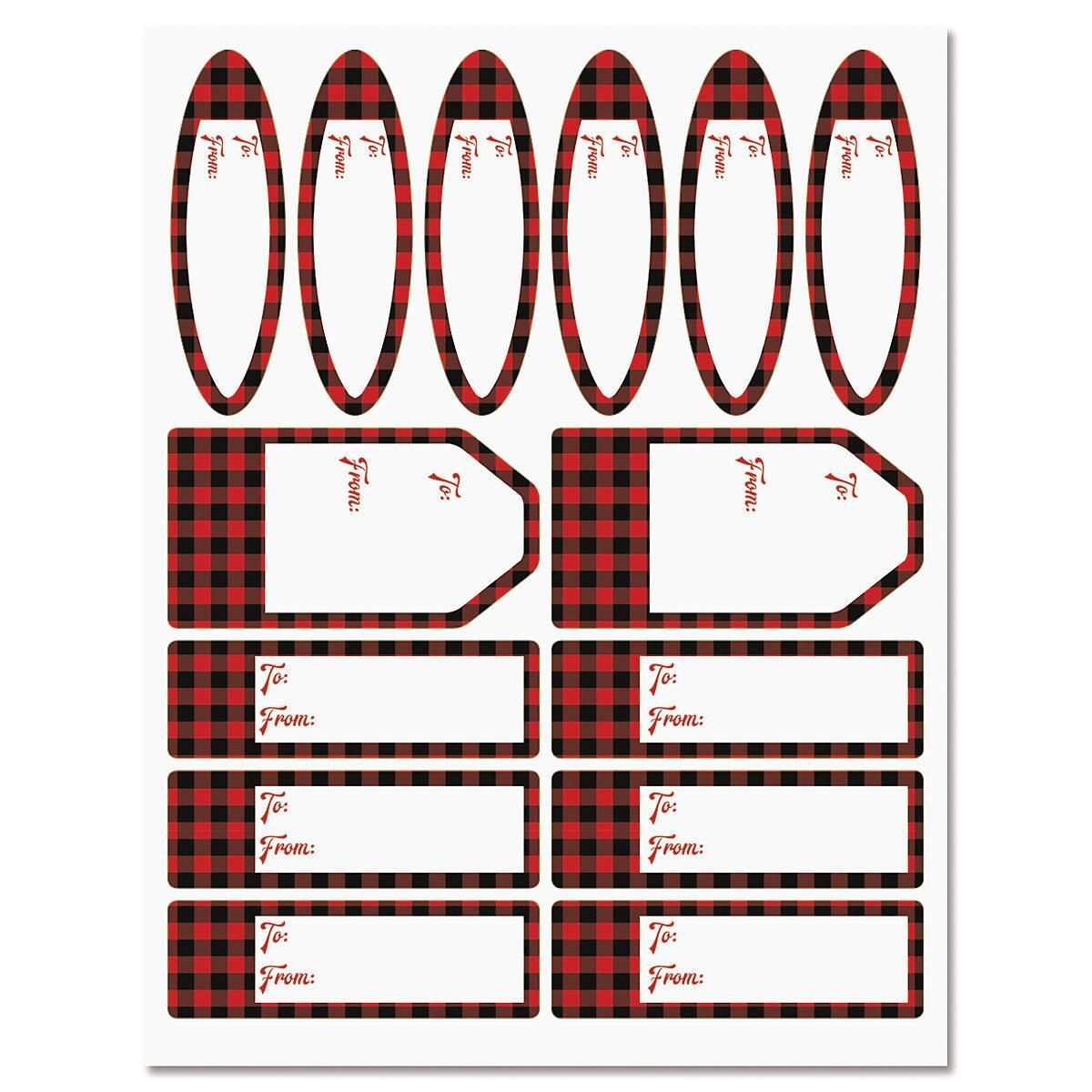 Buffalo Plaid Christmas Gift Labels