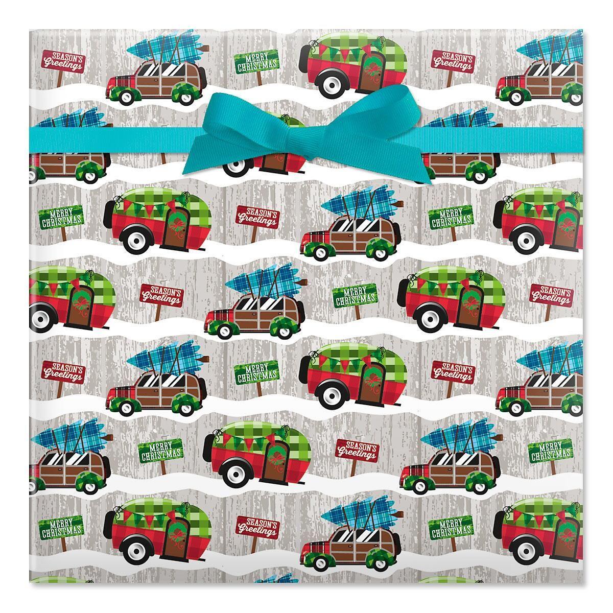 Christmas Camping Jumbo Rolled Gift Wrap