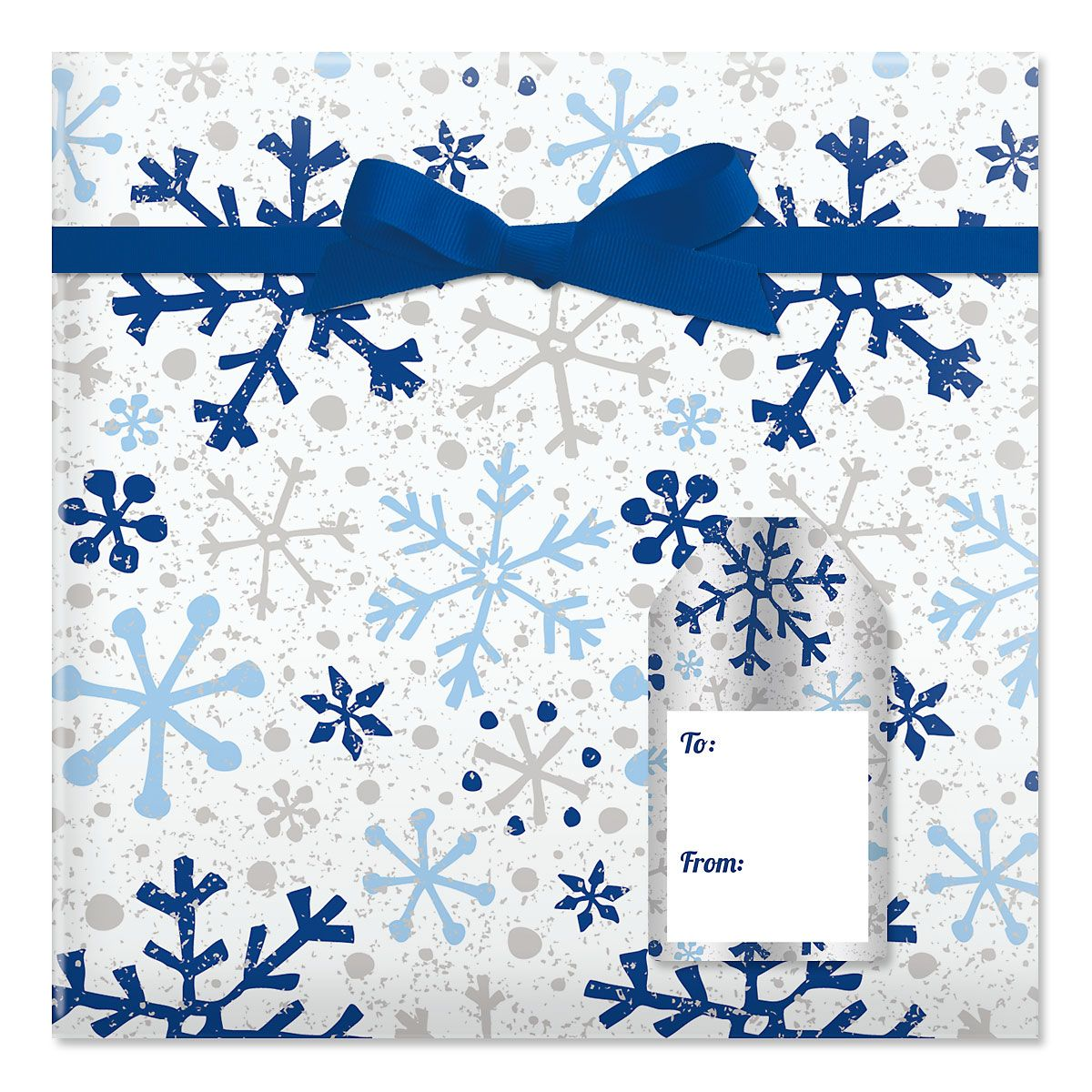 Silver and Blue Flurries Jumbo Rolled Gift Wrap and Labels