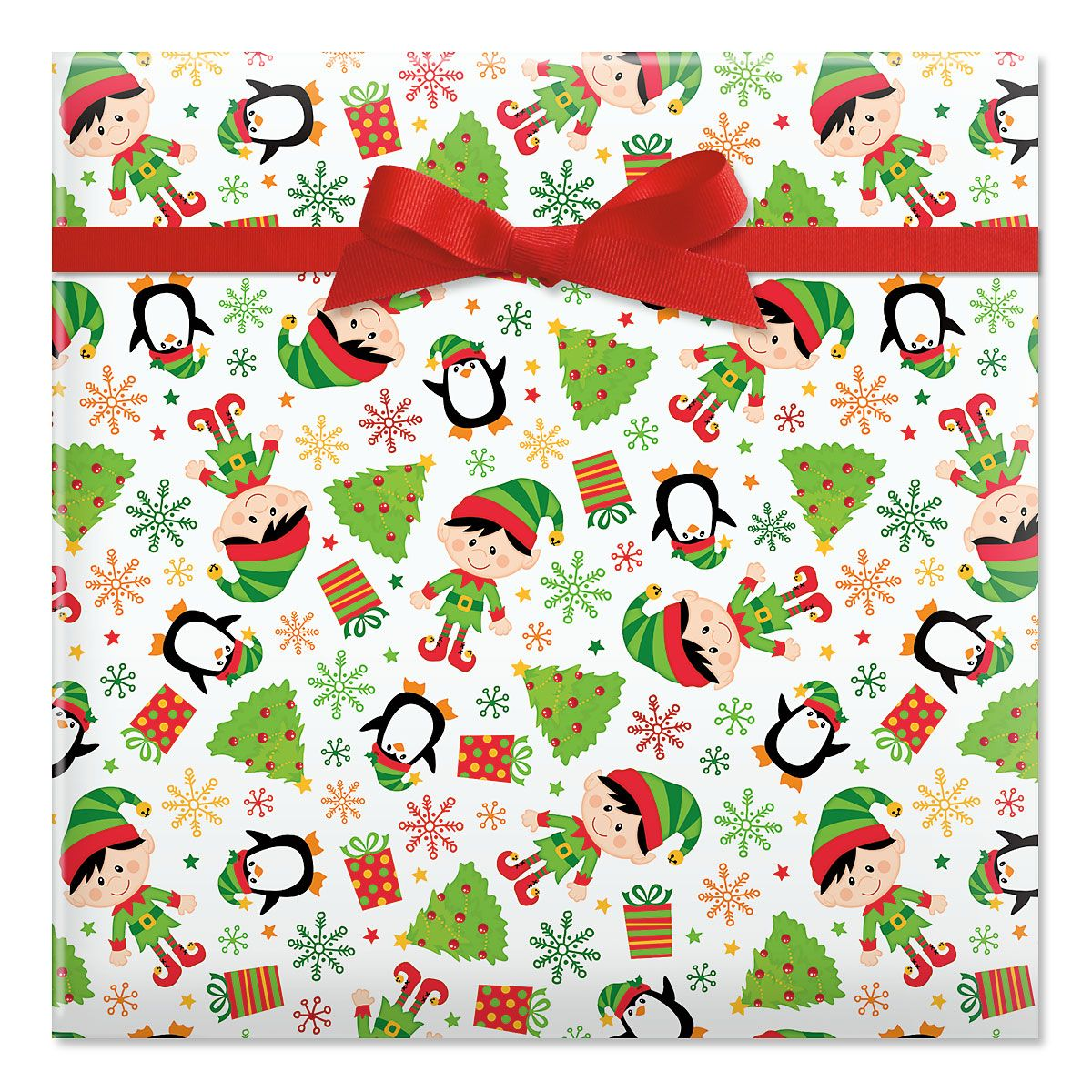 Elves Jumbo Rolled Gift Wrap