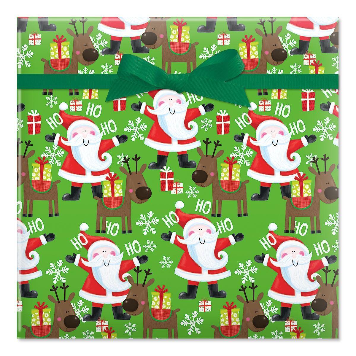 Santa's Christmas Helper Jumbo Rolled Gift Wrap
