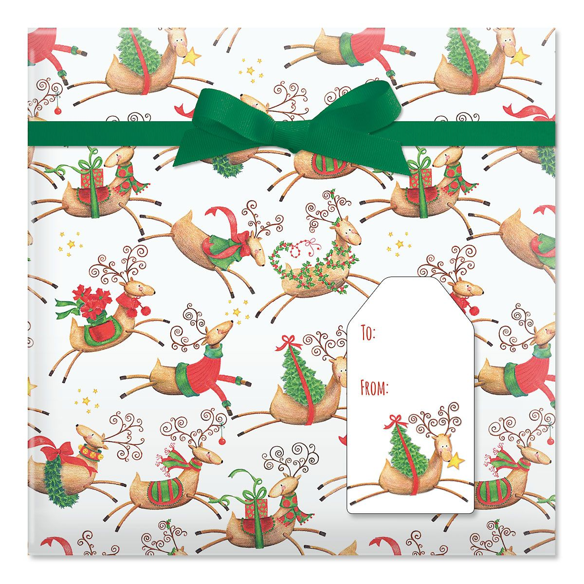 Tiny Reindeer Jumbo Rolled Gift Wrap and Labels