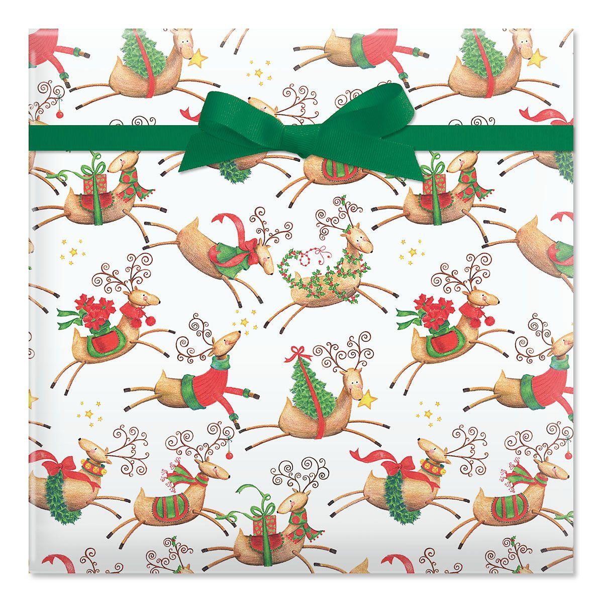 Tiny Reindeer Jumbo Rolled Gift Wrap