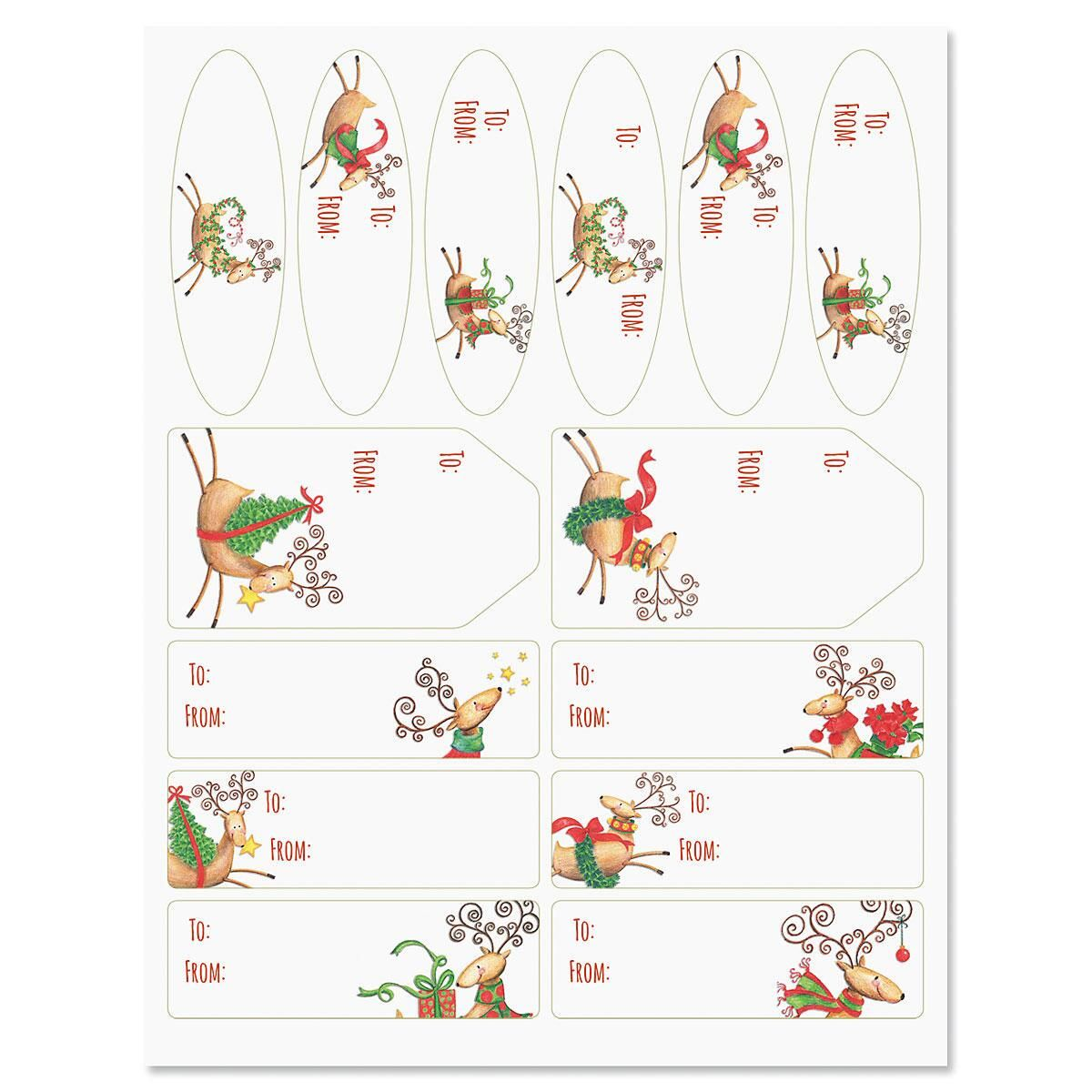 Tiny Reindeer Christmas Gift Labels