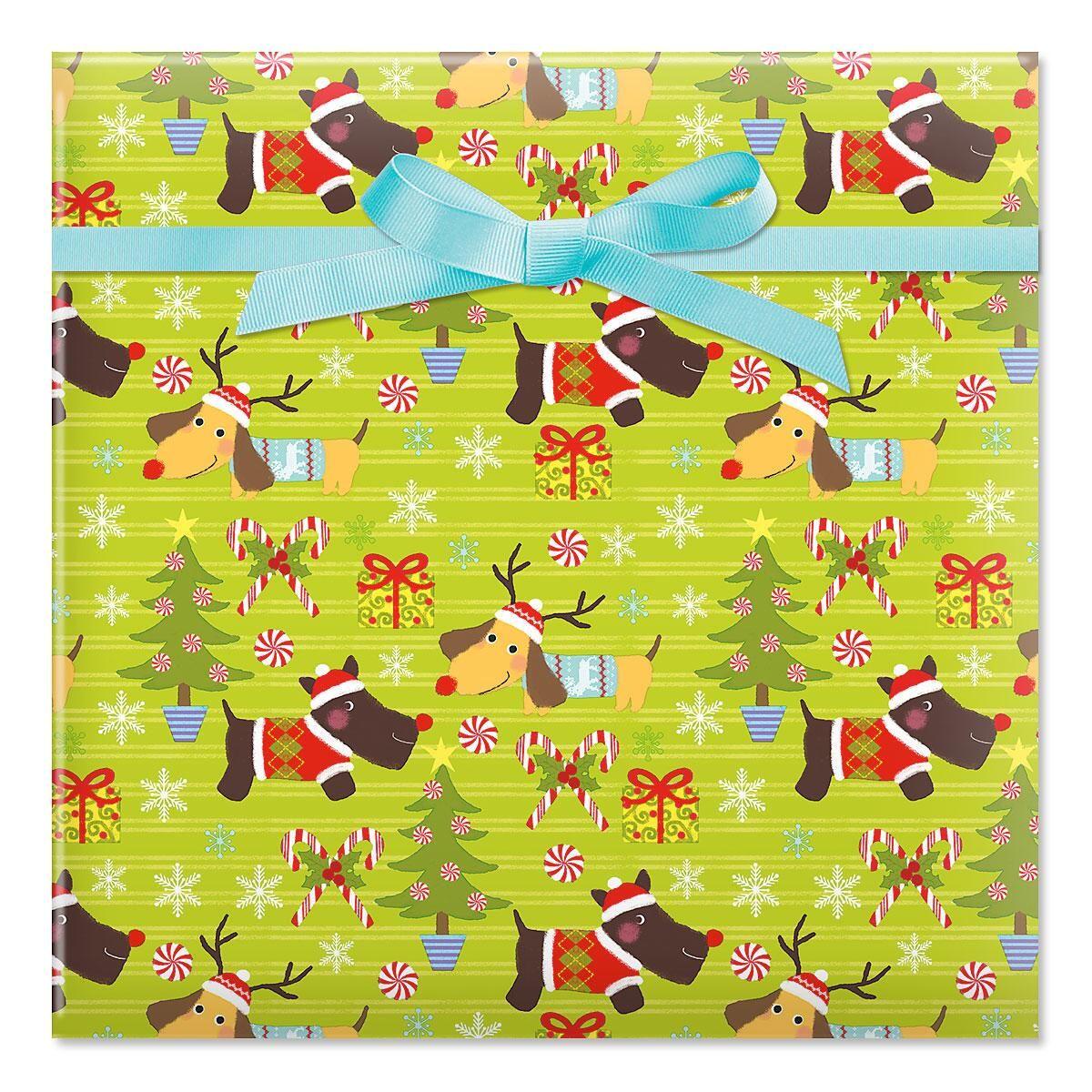 Christmas Puppies Jumbo Rolled Gift Wrap