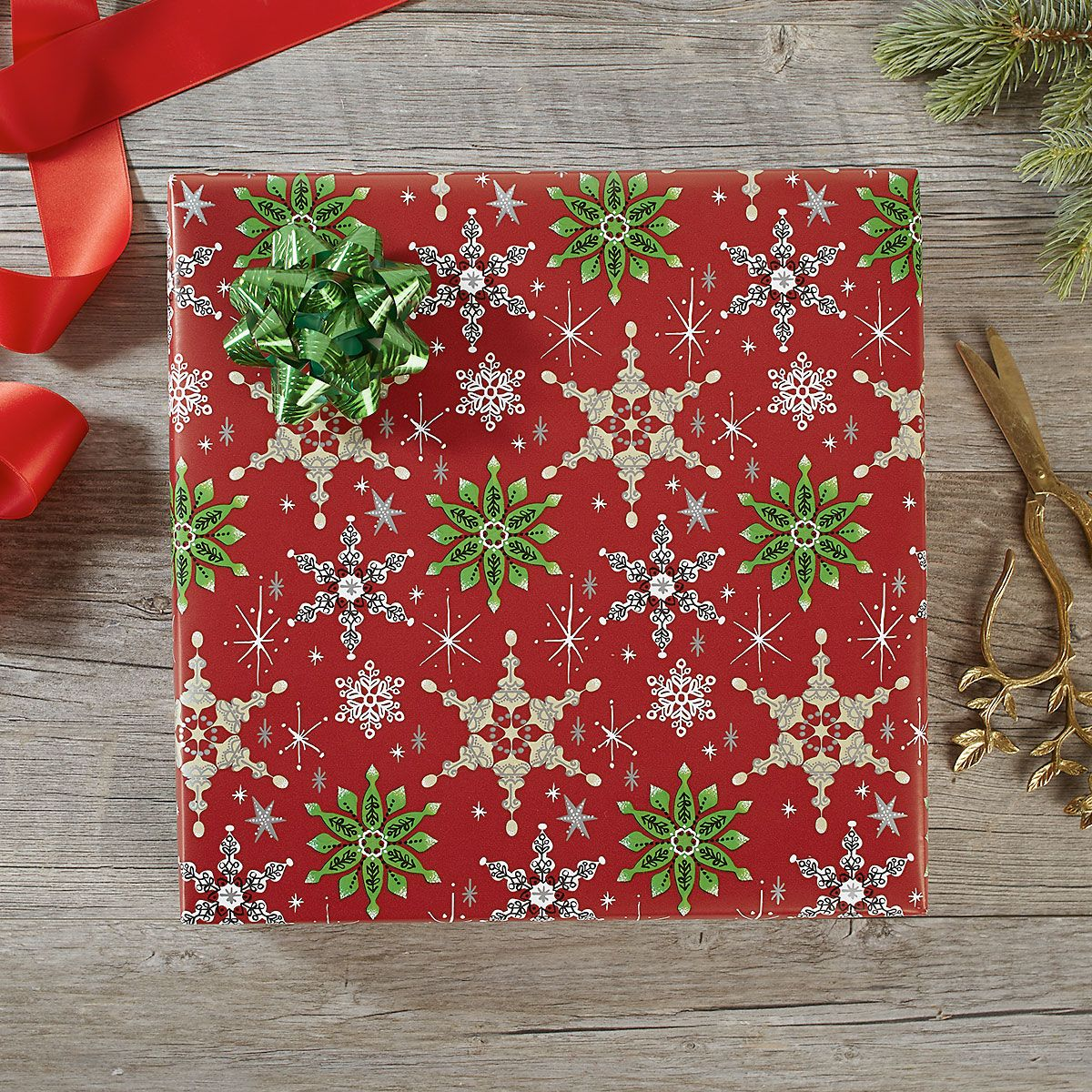 Retro Snowflakes Jumbo Rolled Gift Wrap and Labels
