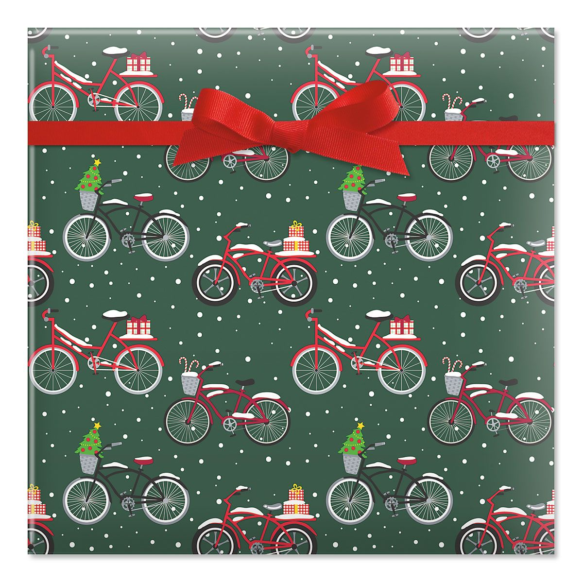 Christmas Bicycles Jumbo Rolled Gift Wrap