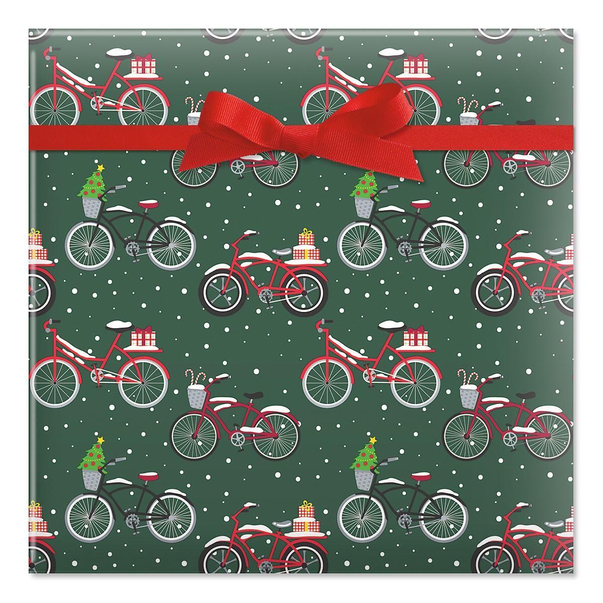 Christmas Bicycles Jumbo Rolled Gift Wrap