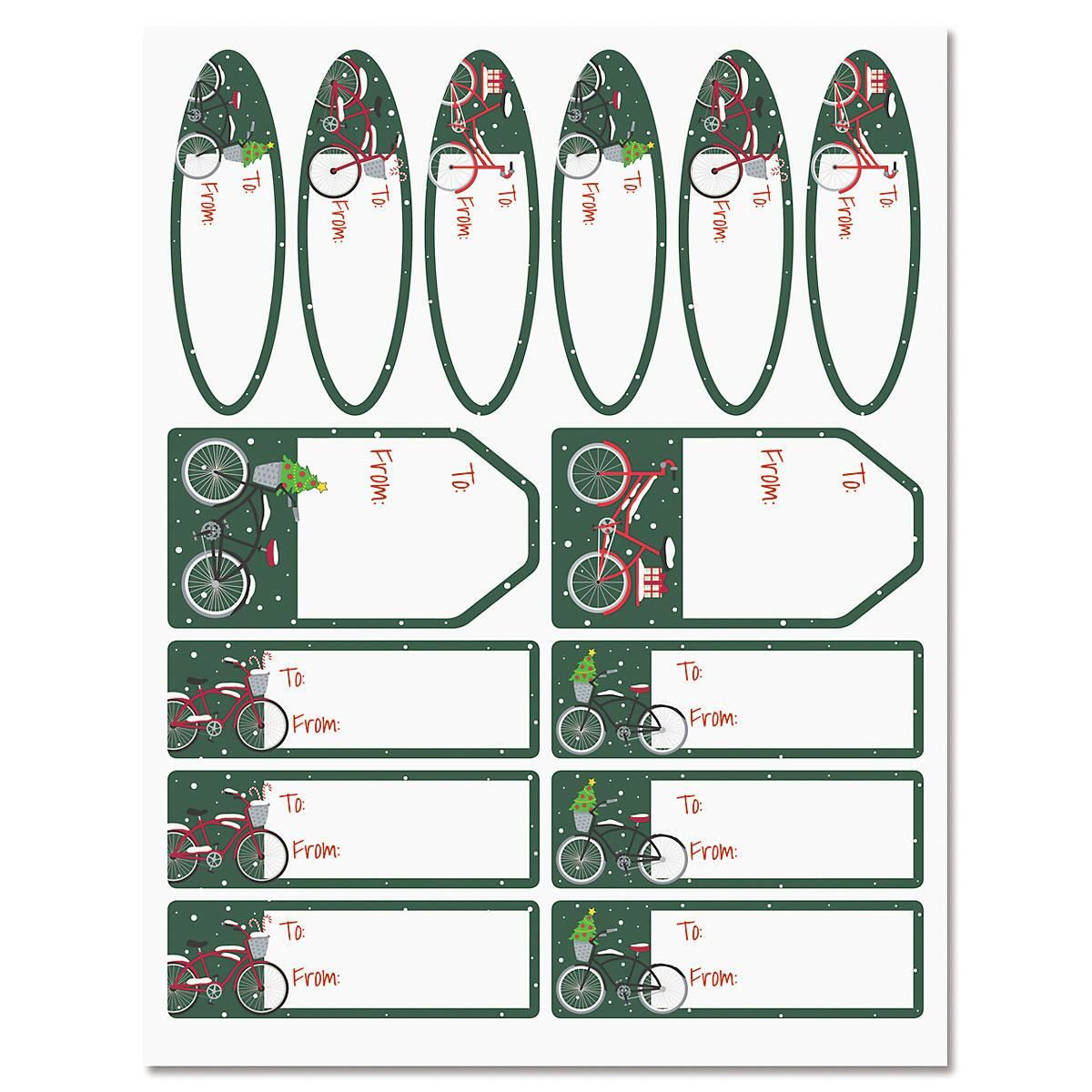 Christmas Bicycles Labels