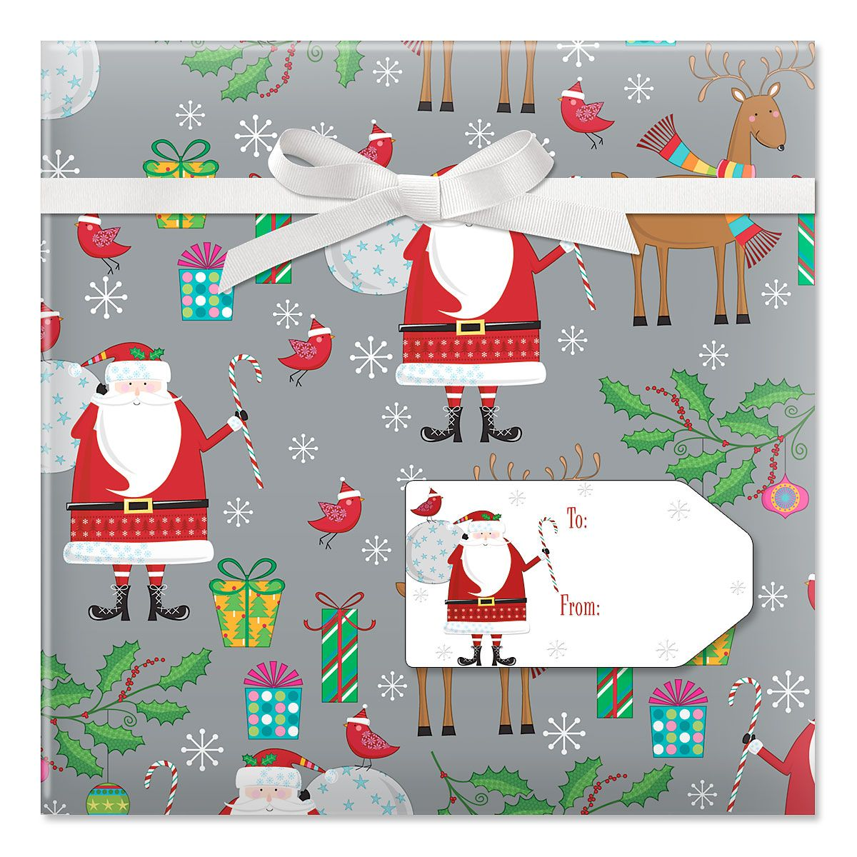 Santa & Reindeer on Silver Jumbo Rolled Gift Wrap and Labels