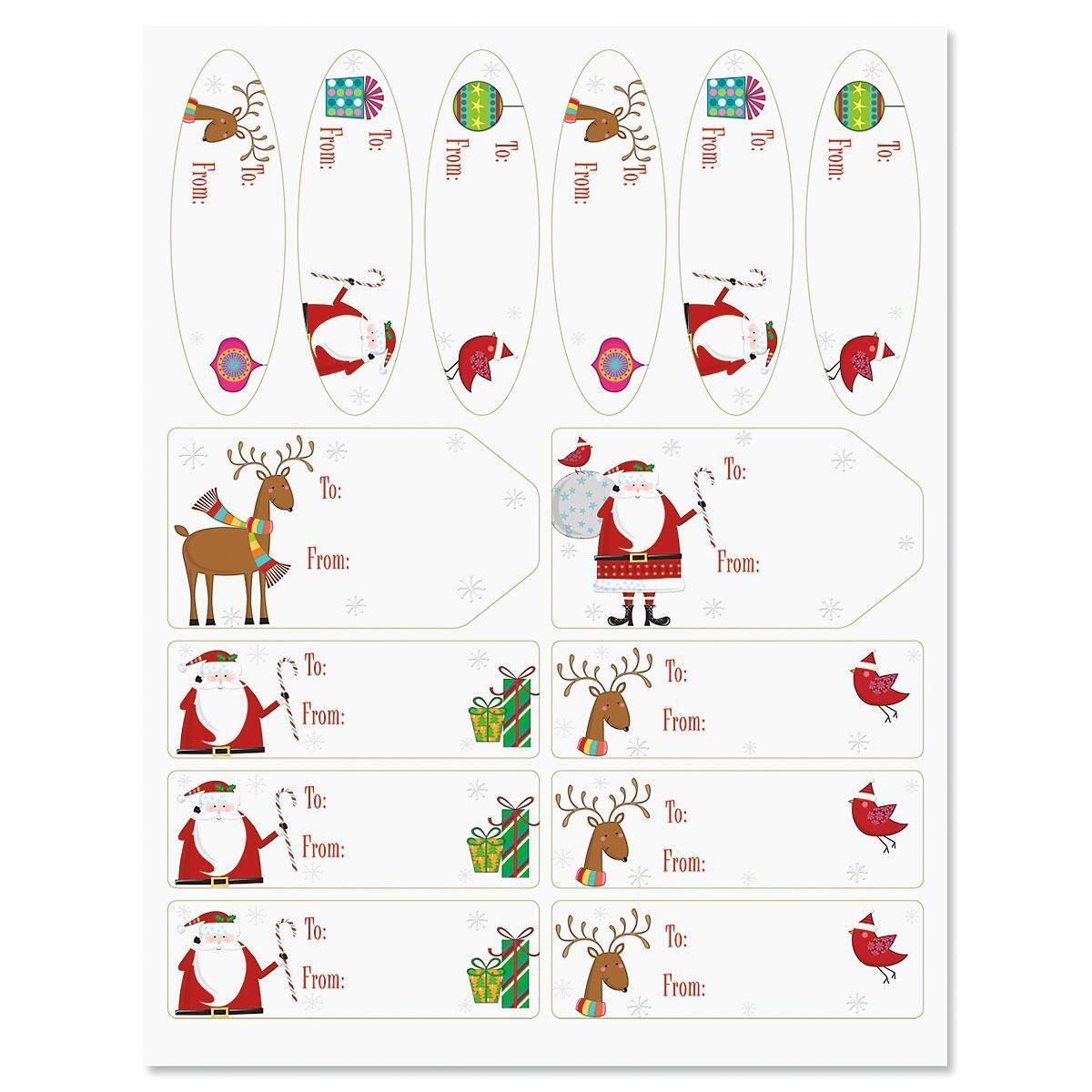 Santa & Reindeer on Silver Labels