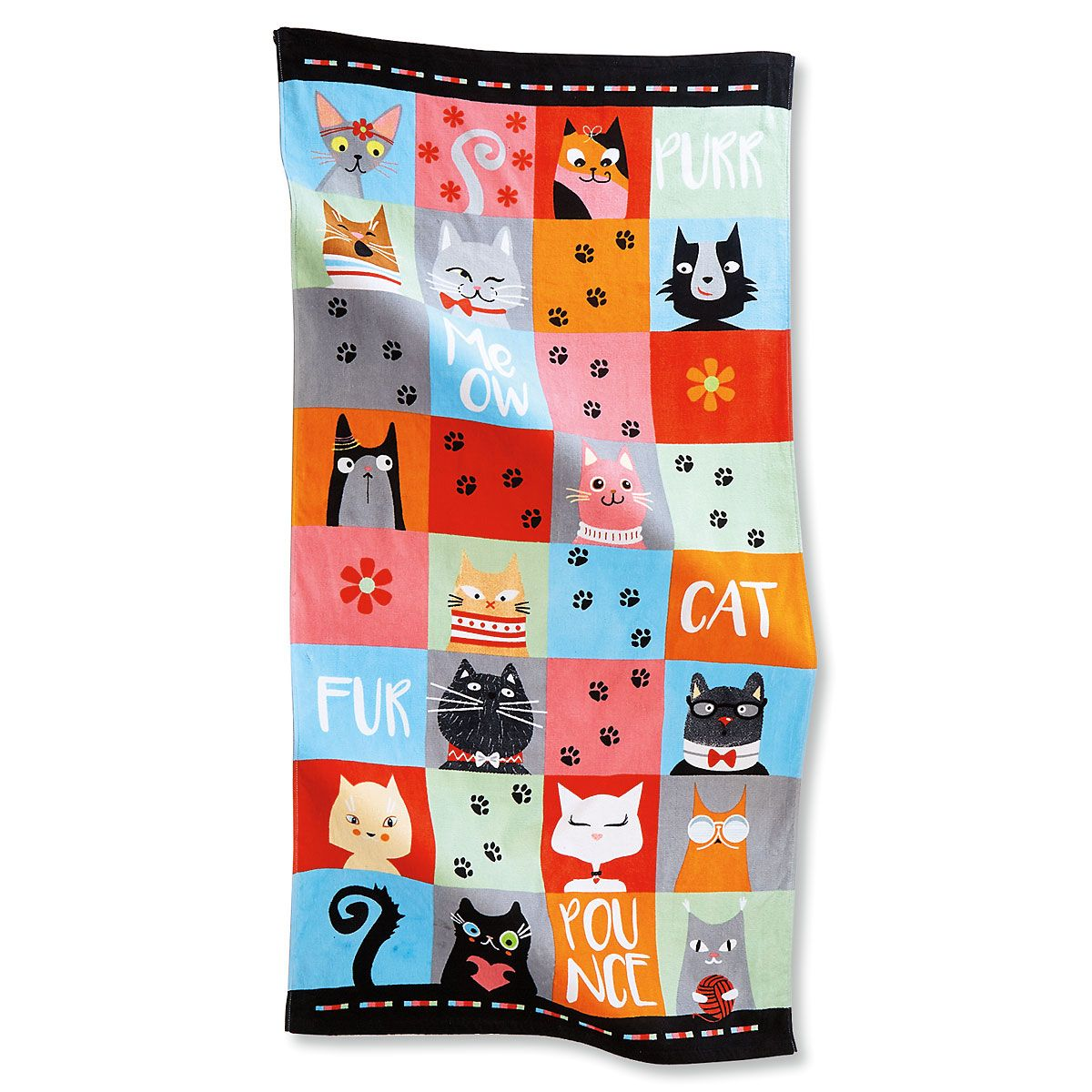 Jumbo Cat Lovers Personalized Beach Towel