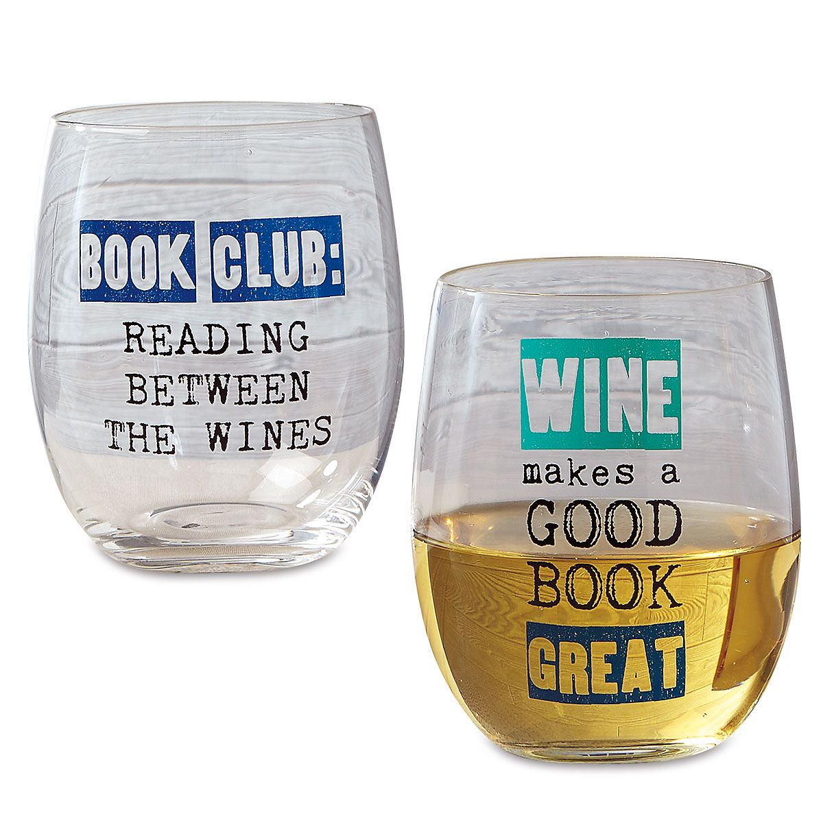 Book Club Stemless Wine Glasses