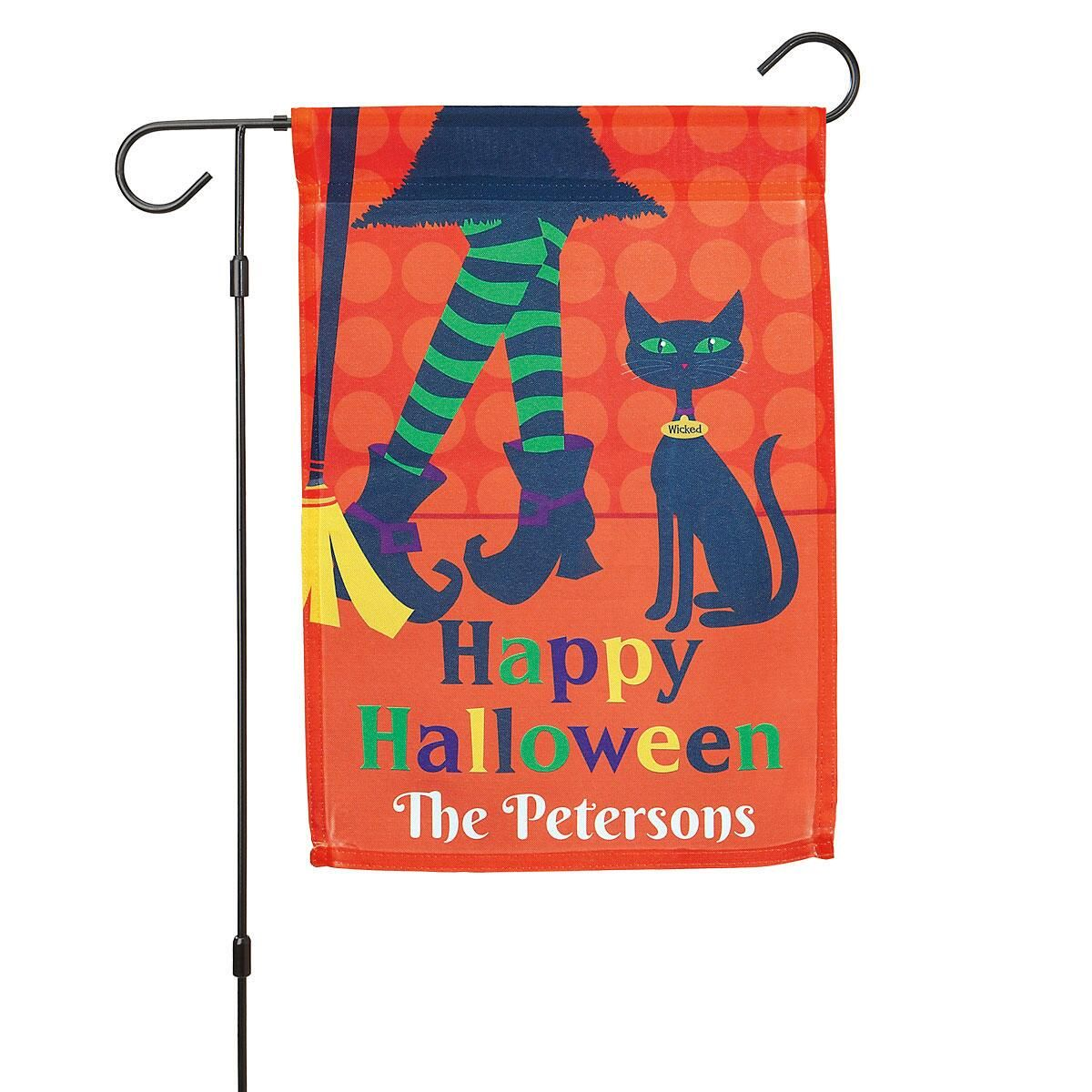 Personalized Witch Garden Flag and Garden Flag Stand