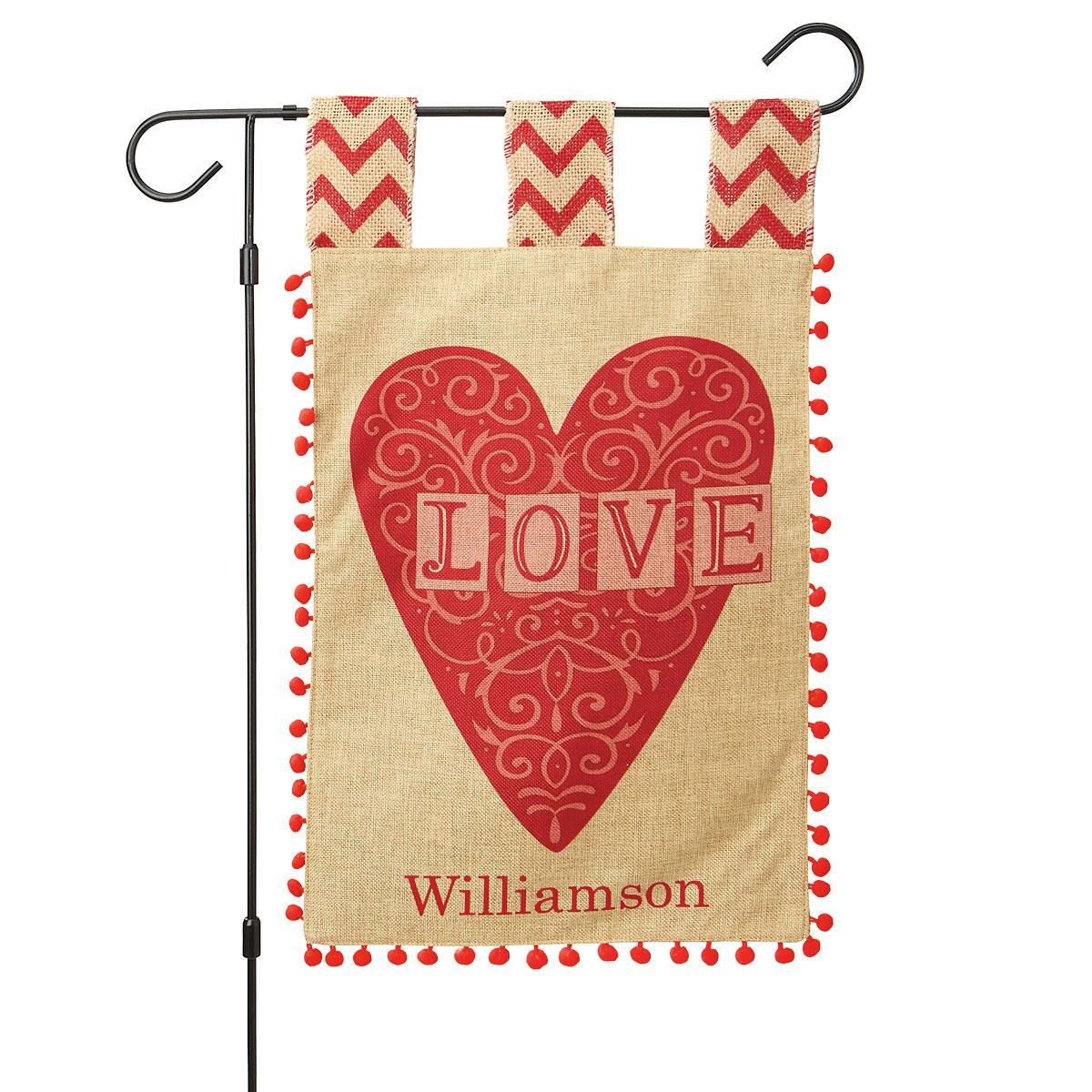 Personalized Burlap Heart Garden Flag and Garden Flag Stand