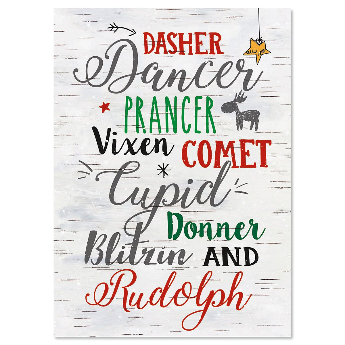 Reindeer Nonpersonalized Christmas Cards - Set of 18