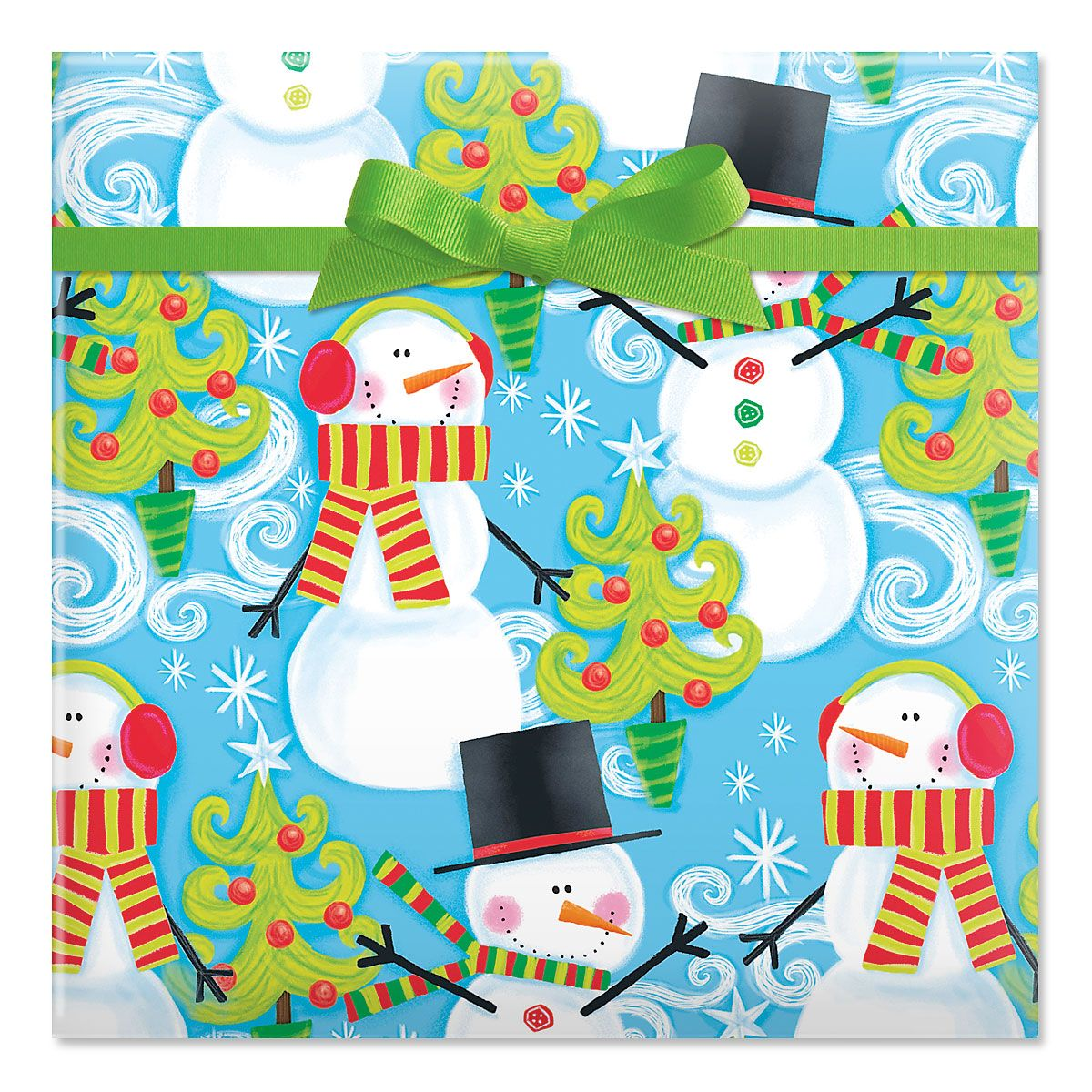 Swirly Snowman Jumbo Rolled Gift Wrap
