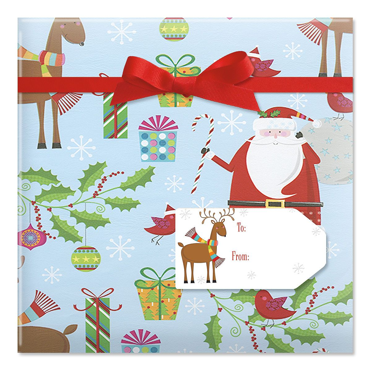 Santa's Reindeer Jumbo Rolled Gift Wrap and Labels