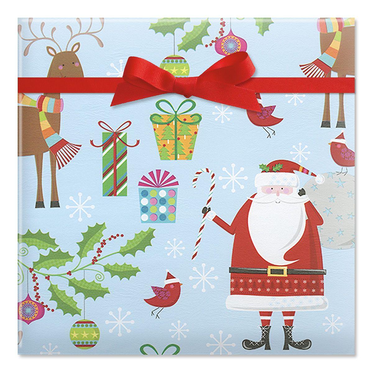 Santa's Reindeer Jumbo Rolled Gift Wrap