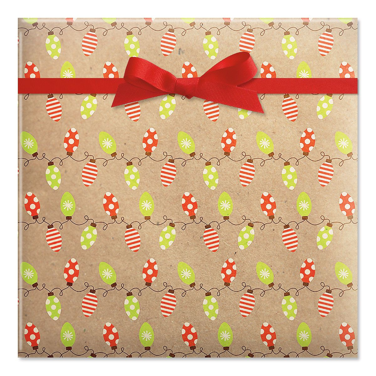 Kraft Holiday Lights Jumbo Rolled Gift Wrap
