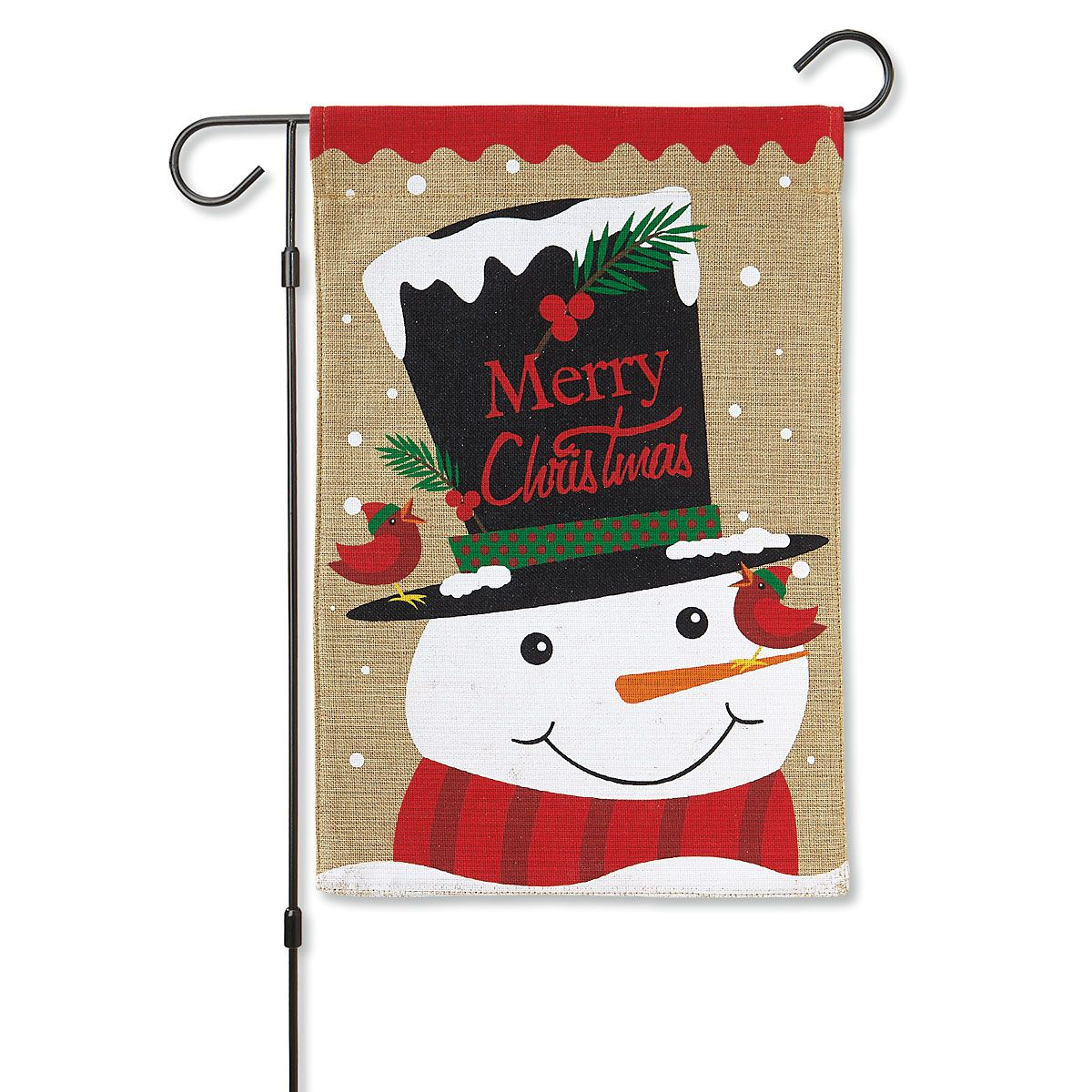 Top Hat Snowman Garden Flag