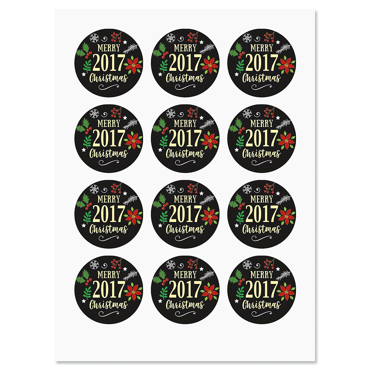 Deluxe Foil 2017 Merry Christmas Stickers