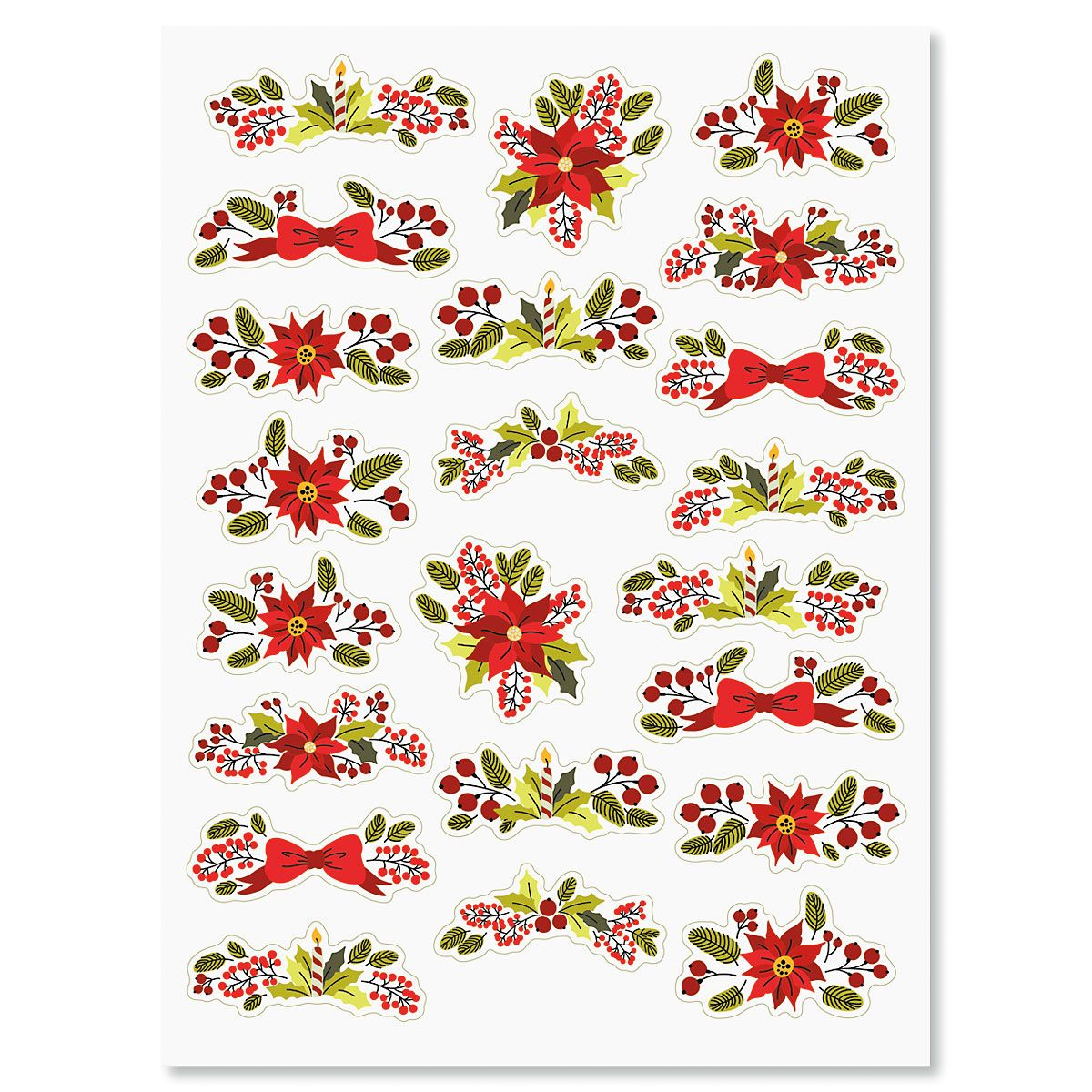 Vintage Christmas Floral Stickers