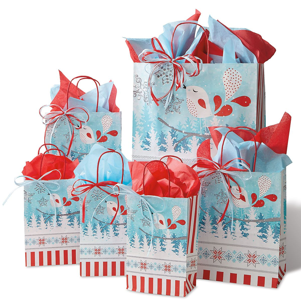 Simple Birds Holiday Gift Bag Set