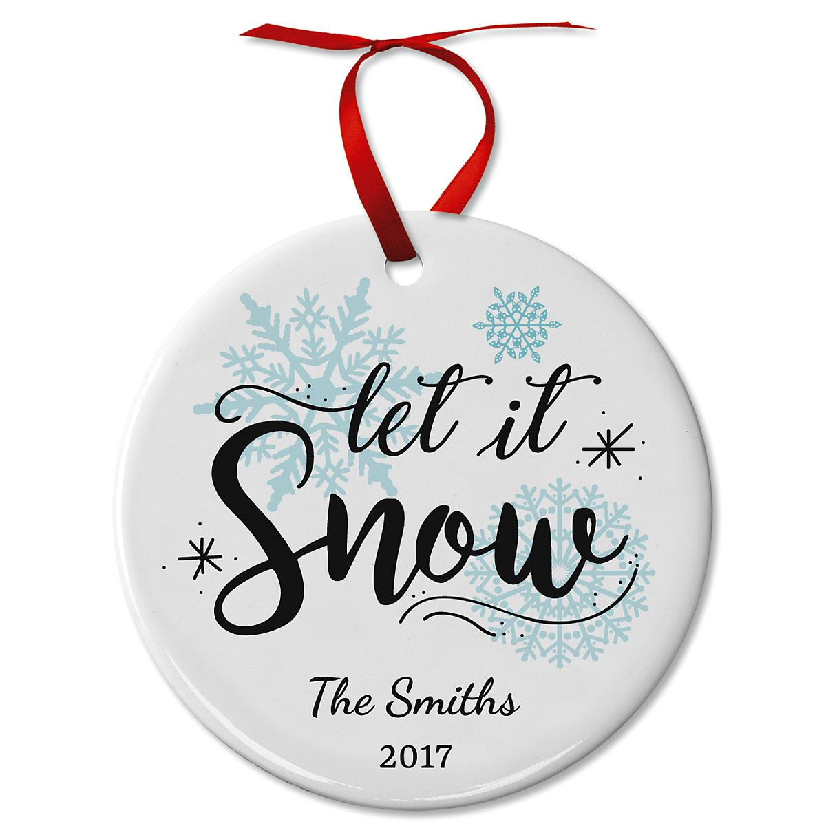 Personalized Let It Snow Ceramic Christmas Ornament