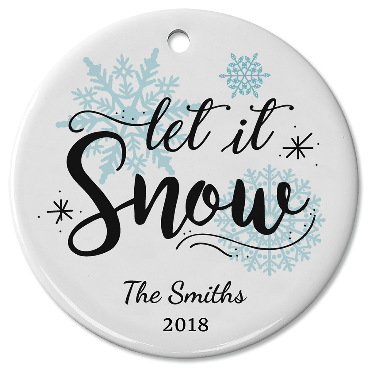 Let It Snow Ceramic Christmas Personalized Ornament