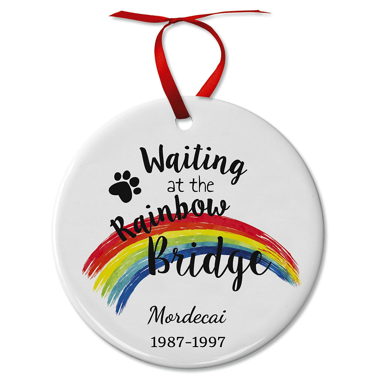 Personalized Pawprints Pet Remembrance Ceramic Ornament