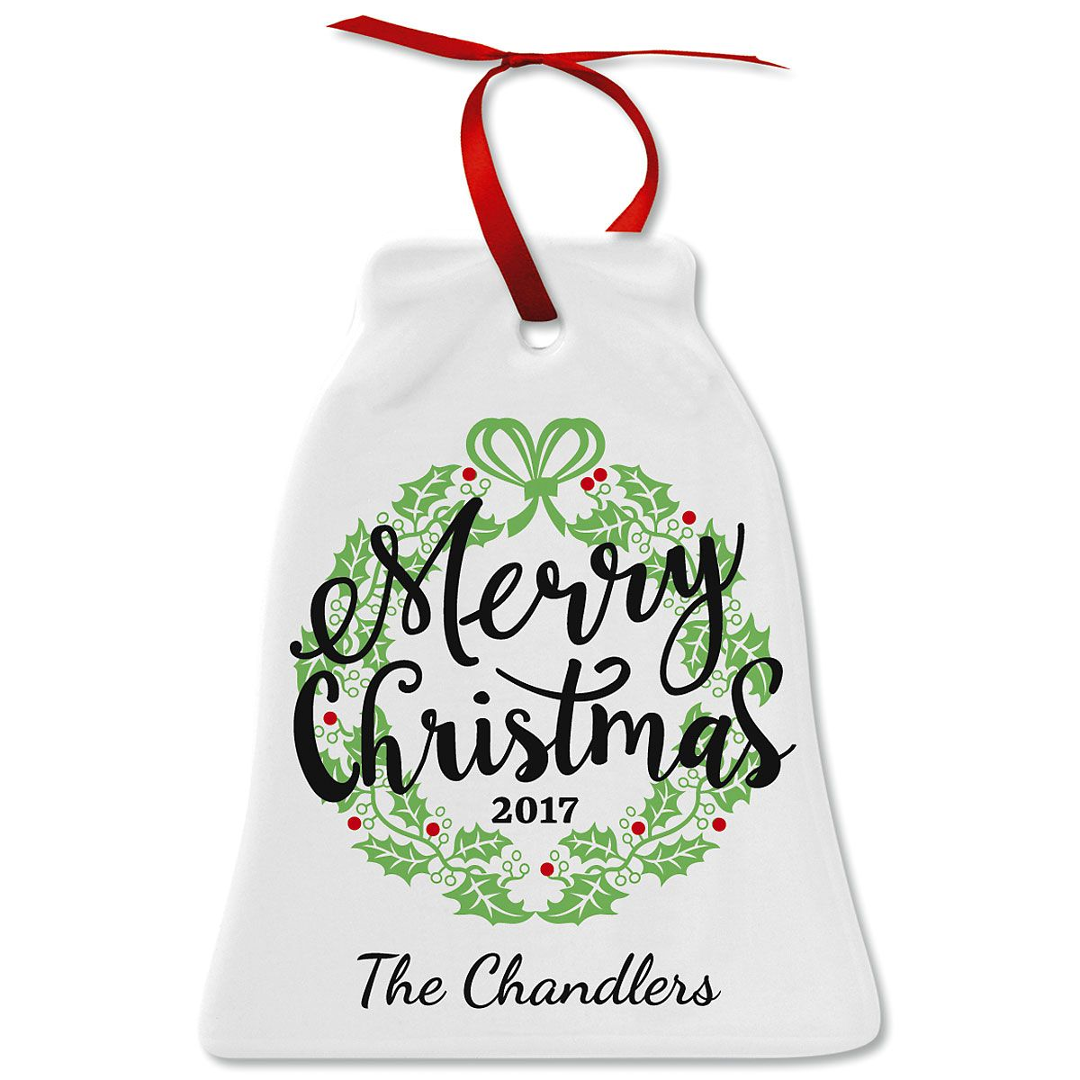 Merry Christmas Ceramic Personalized Christmas Ornaments