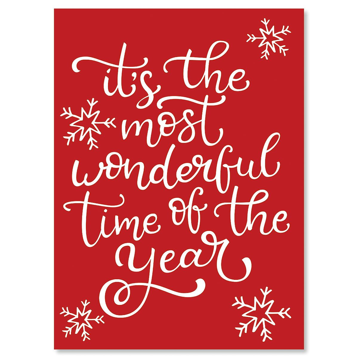 Most Wonderful Personalized Christmas Cards - Set of 72