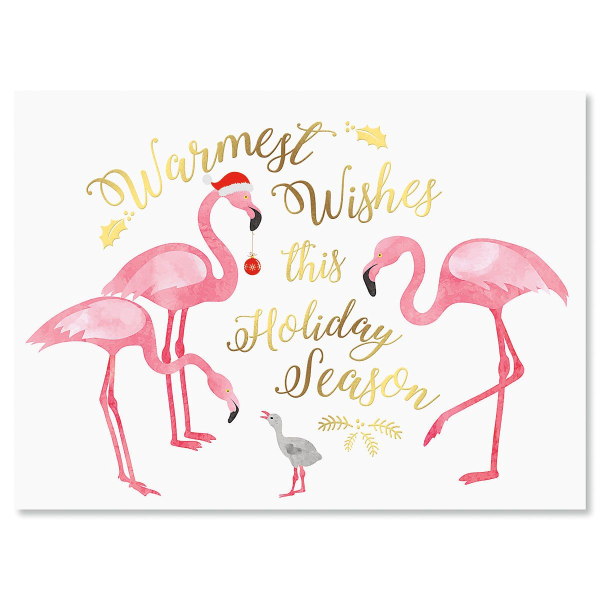 Flamingo Nonpersonalized Deluxe Christmas Cards - Set of 54