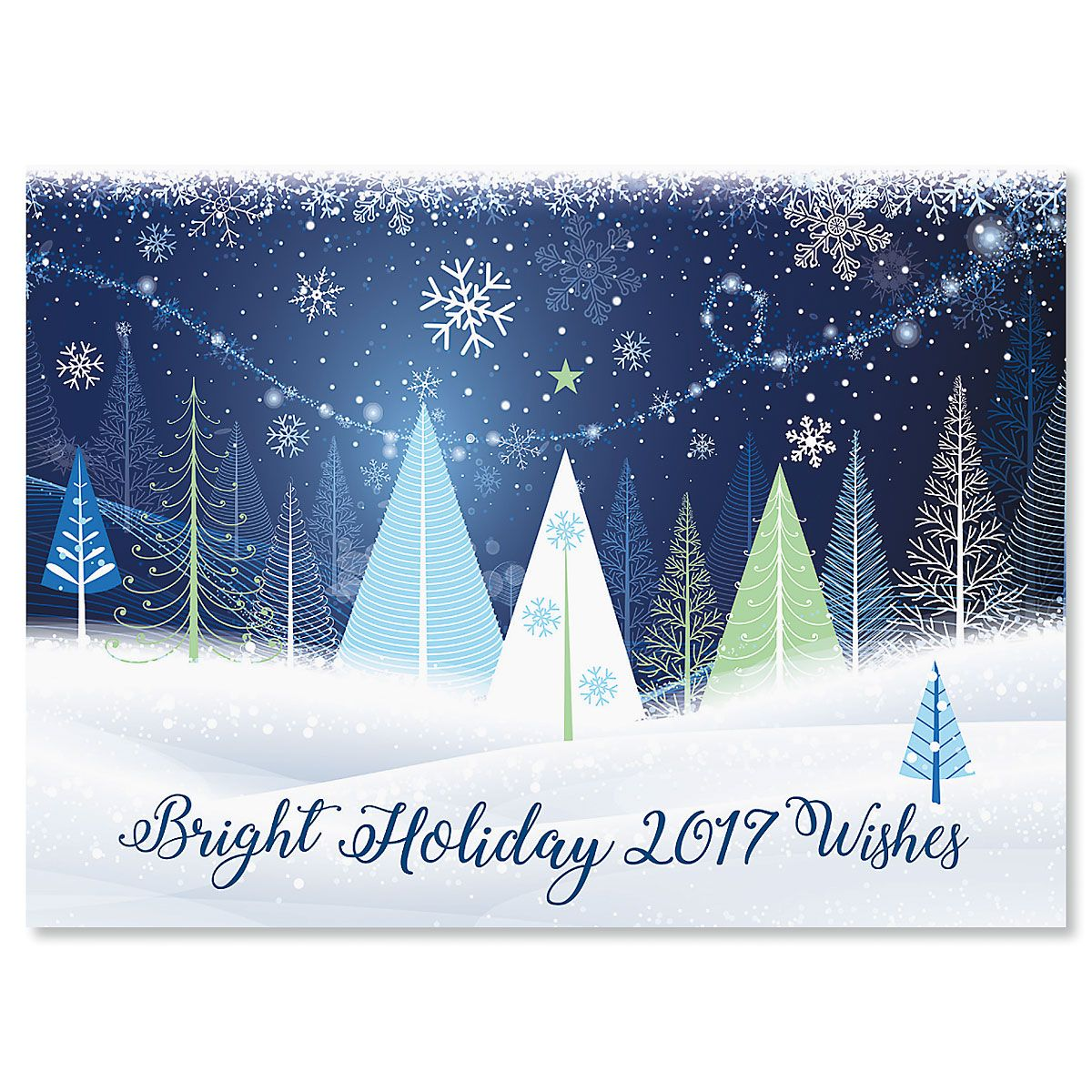 Holiday Trees Personalized Christmas Cards - Set of 72