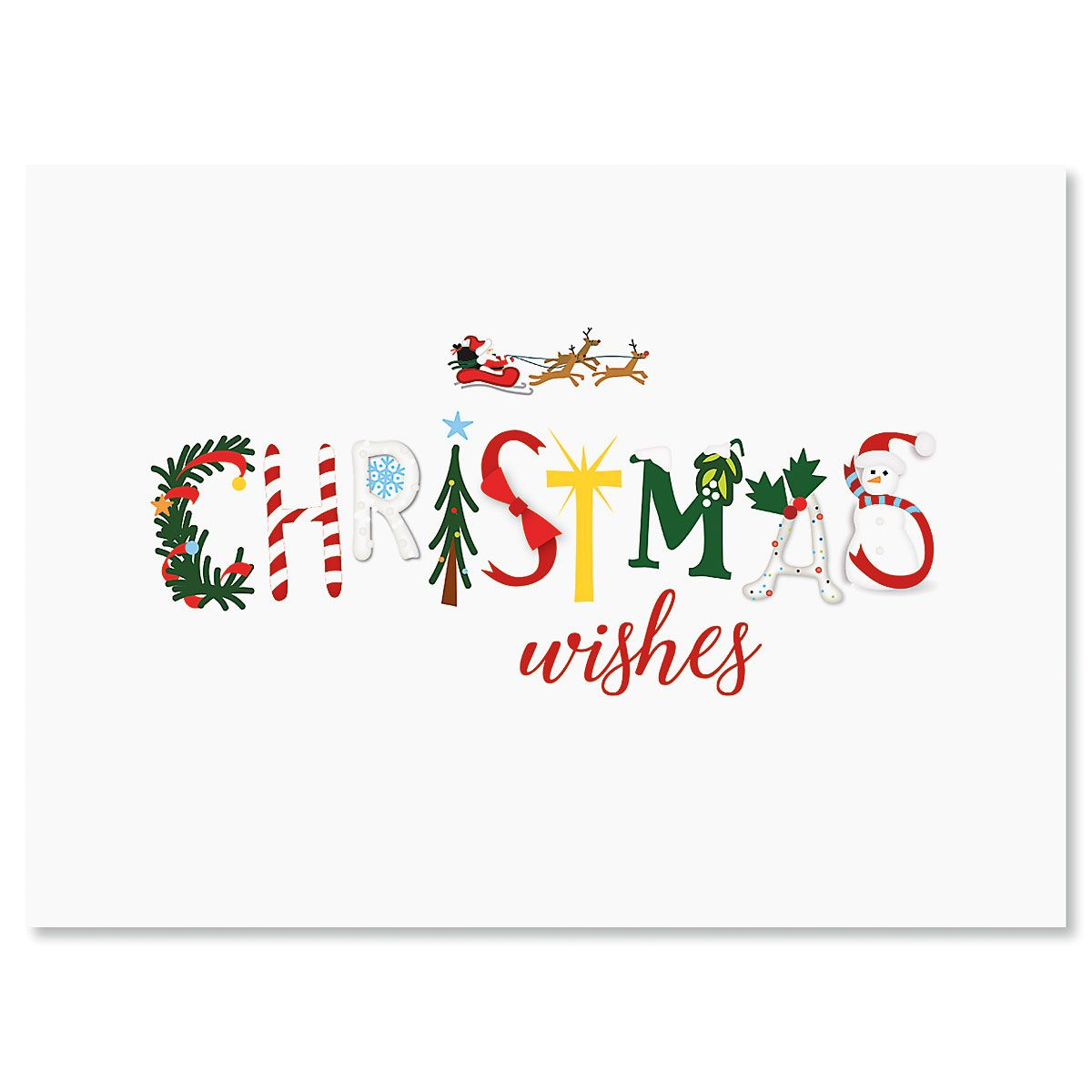 Merry Christmas Icons Nonpersonalized Christmas Cards - Set of 72