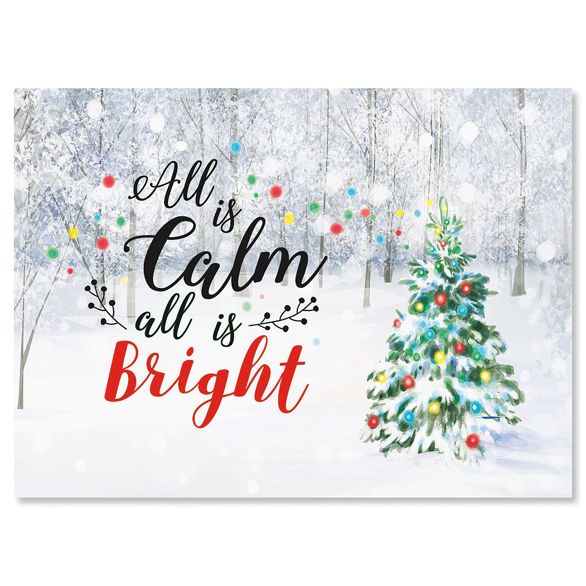 Snowy Forest Personalized Christmas Cards - Set of 18