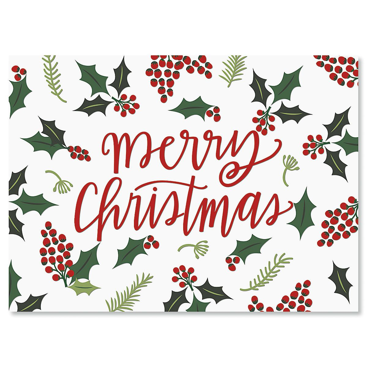 Berry Border Personalized Christmas Cards - Set of 18