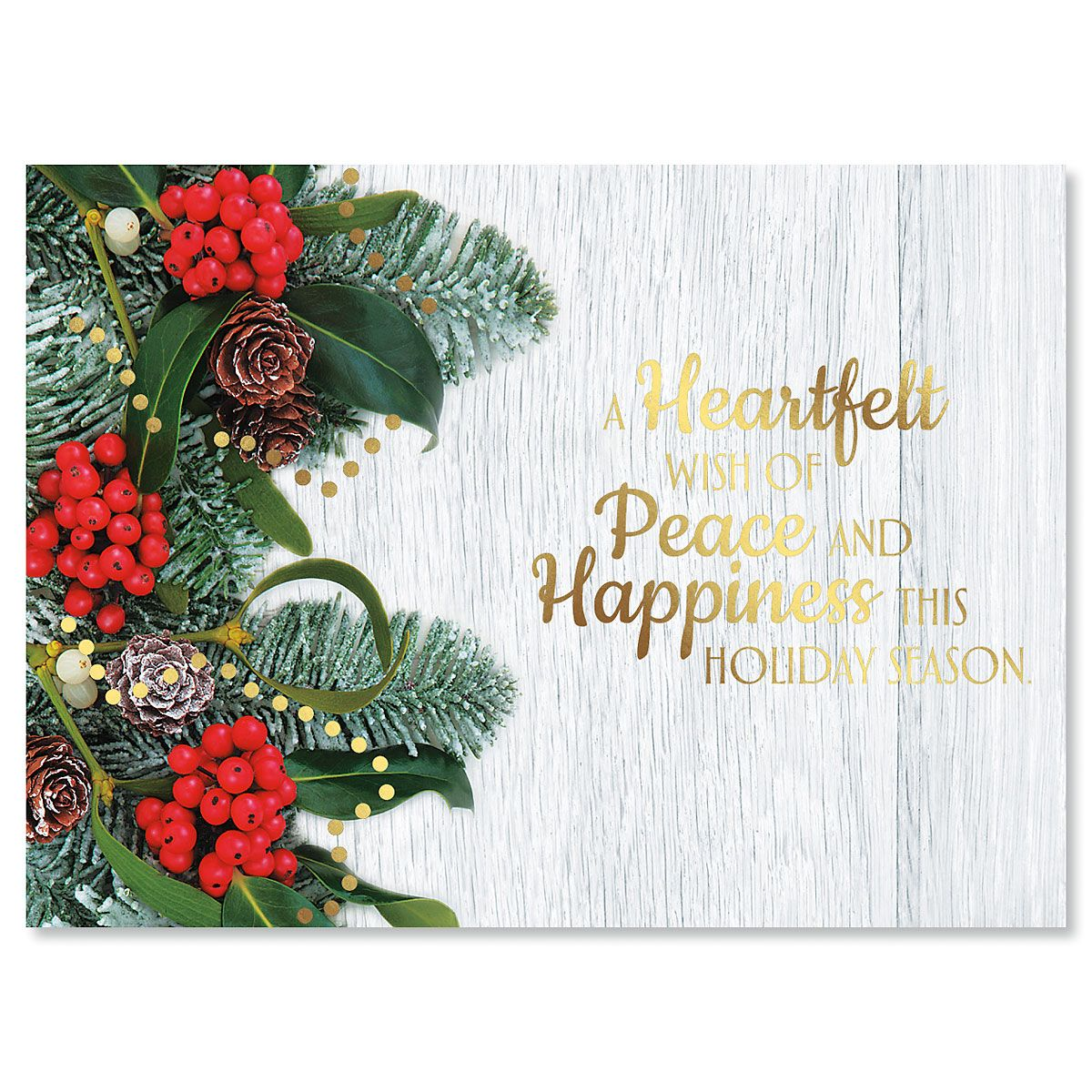 Holly and Ribbon Personalized Deluxe Christmas Cards - Set of 14