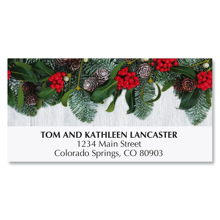 Holly and Ribbon Deluxe Address Labels