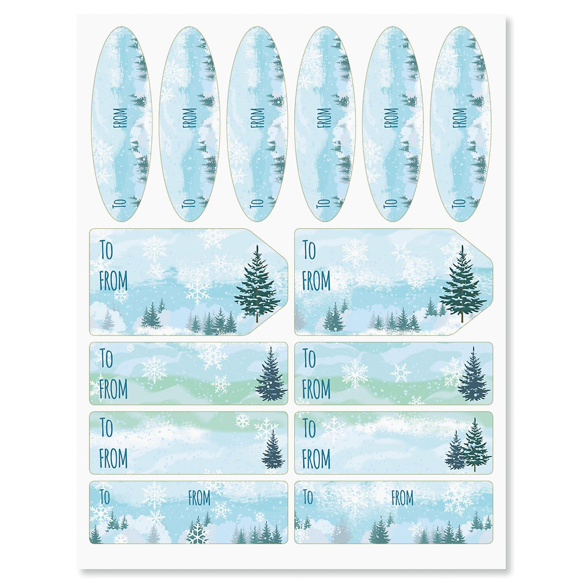 Winter Forest Christmas Gift Labels