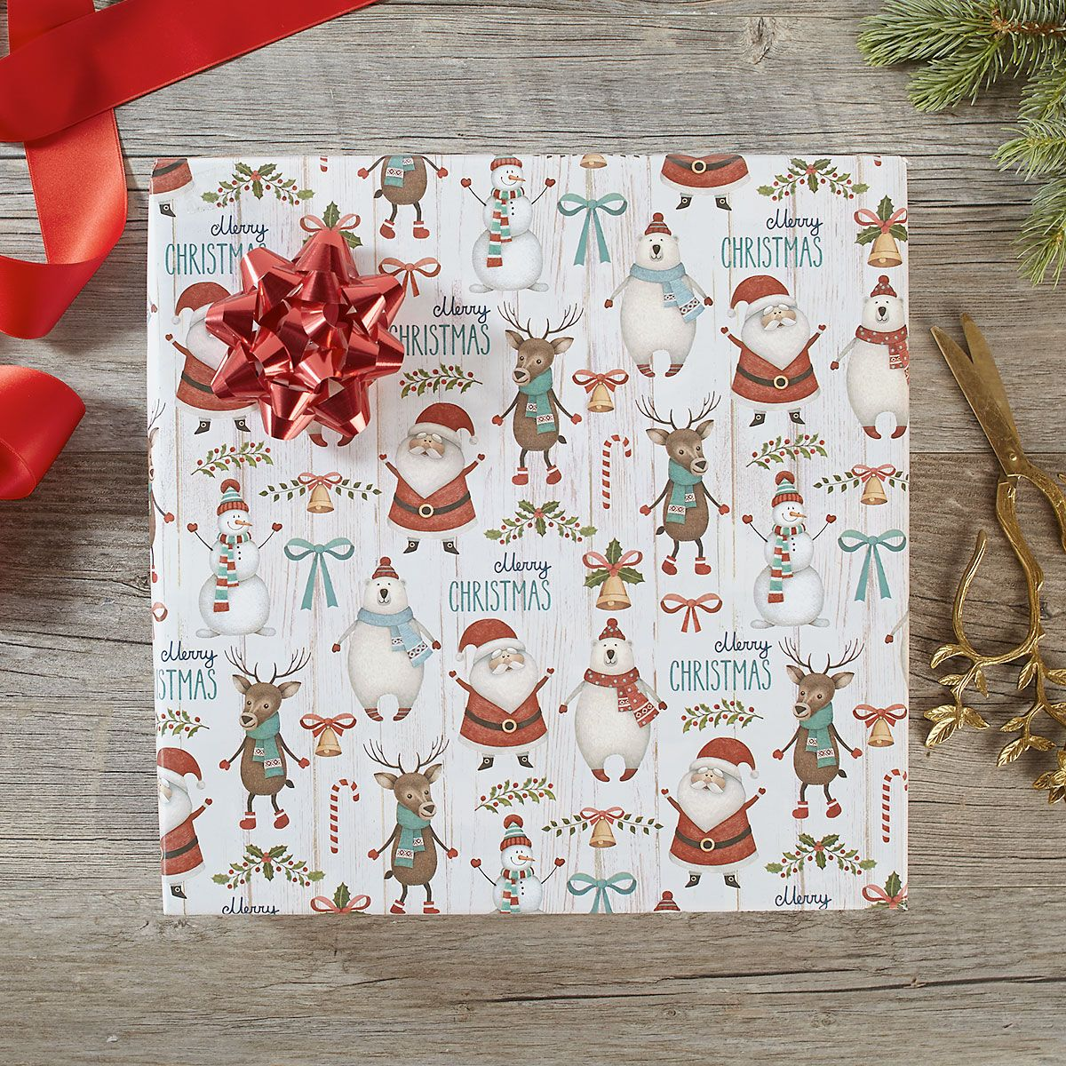 Santa & Friends Jumbo Rolled Gift Wrap and Labels
